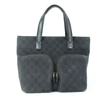 Authentic GUCCI Black GG Canvas & Leather Tote Hand Bag Shoulder Bag Purse Italy