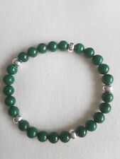 Green Malachite A Grade Semi Precious stone & Silver Plated Bead Bracelet 6mm