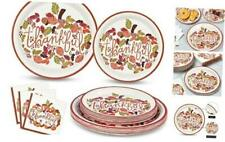 Thanksgiving Paper Plates and Napkins Thanksful Pumpkin Disposable Party Supplie