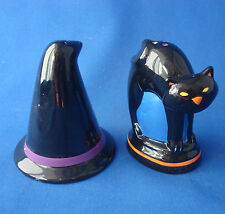 Halloween Witch's Hat & Black Cat salt and pepper shakers ceramic