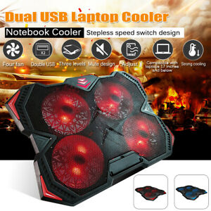 17 inch Quiet Laptop Cooler Cooling Pad Stand With Dual USB Powered 4 Fans UK