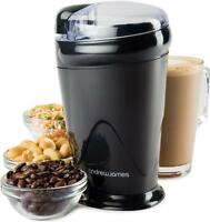 Andrew James Black Electric Coffee Grinder Whole Bean Nut Spice Mill Latte 150W