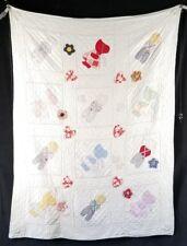 Vintage Original 1936 Child's Handmade Applique Quilt Boys & Girls 62x46 EXC
