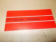 Mopar NOS Original Owners Manual 1969 Dodge Polara/Monaco