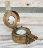 Antique Solid Brass British Military British Prismatic Pocket Compass