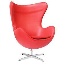Arne Jacobsen Midcentury Modern Style Leather Egg Chair Chair Leather, Red