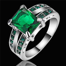 Noble Jewelry 18k white gold filled Green Emerald wedding rings women size 9