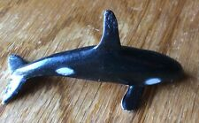 """Orca Whale Figurine Free Willy Rubber Vintage Toy 2"""" Long Black & White."""