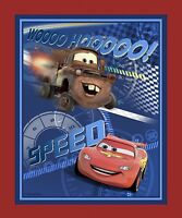 """1 Disney Cars """"Speed Racing"""" Wallhanging/Lap Quilt Panel  Fabric"""