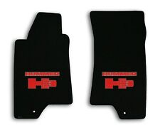 2006 Hummer H3 - Black Classic Loop Carpet Front Floor Mats - Red Hummer H3 Logo