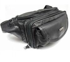 Mens Ladies Genuine Large Soft Leather Waist Bag Bumbag Multiple Zips Black 1964