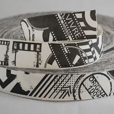 Printed Cotton Fabric Ribbon Sewing Label Tape - Retro Abstract Photo Film