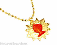 VALERIE VILOIN LABBE Collier Labbe couleur or émail orange bijou necklace A4