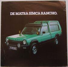Matra Simca Rancho 1977-78 Original Dutch Sales Brochure Single Sheet