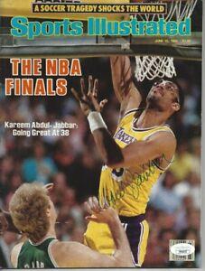 Kareem Abdul Jabbar Autographed Sports Illustrated Magazine Full 6/10/85 Lakers