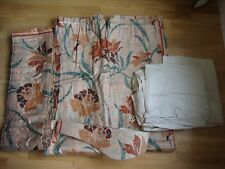 Curtains (lined), Pelmet and Tie Back set. Light brown/Tan floral with green.