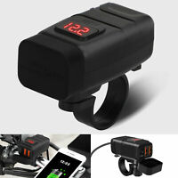 Motorcycle Handlebar Dual USB QC 3.0 Phone Charger with Red Digital Voltmeter US