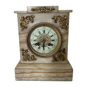 ANTIQUE GRANDMILLENNIAL JAPY FRERES FRENCH ONYX MARBLE MANTLE CLOCK, VERY HEAVY
