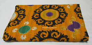 Indian Cotton Ethnic Suzani Print Applique Bedspread Queen Kantha Quilt Blanket