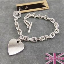 HEART CHARM BRACELET 925 silver plated TOGGLE CLASP chunky belcher link chain