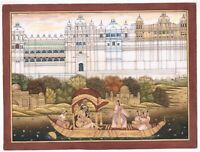 Mughal Emperor Enjoying Love With Music And Dance On Boat Indian Art Painting