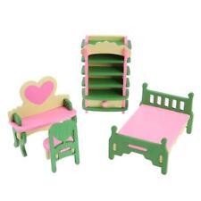 1 Set / 4 Pz Bambino In Legno Casa Delle Bambole Casa Delle Bambole In Mini Q1Q4