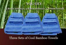 Lot of 3 Bamboo bath towel sets , Sky Blue Color