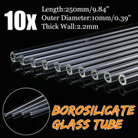 10Pcs 250mm OD 10mm 2.2mm Thick Wall Borosilicate Glass Pyrex Blowing Tube Set