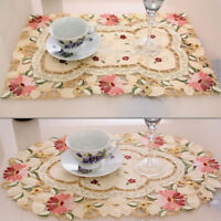 Xmas Placemat Embroidered Floral Coaster Table Fabric Cutwork Christmas Doily