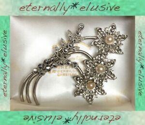 Large Antique Art Deco Vintage Marcasite Faux Pearl Floral Statement Brooch Pin