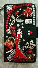Fits Galaxy Note 4❤Elegant Lady Custom Wallet Case Bling Crystals❤Crown Red Rose