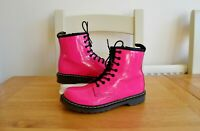 DR.MARTENS 1460 YOUTH HOT PINK PATENT LEATHER LACE UP BOOTS UK2 EU34 RRP £70.00