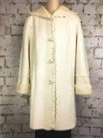 Coldwater Creek Faux Shearling Hooded Coat Size Large Soft White Natural Buttons