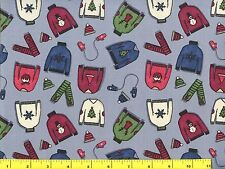Small Ugly Christmas Sweaters on Light Gray Quilting Fabric by Yard  #3184