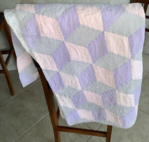 """Hand Quilted Pink Lavendar Gray Wall Hanging Throw Baby Blanket 35""""x 44"""" DAMAGED"""