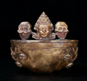 Tibet Old  Sita Vana Skull Cup Offering Bowl