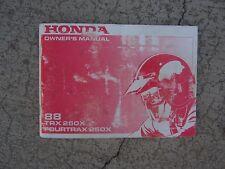1988 Honda TRX250X Four Trax 250X  ATV Owner Manual Off Road Vehicle SS