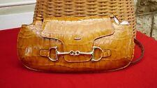 Vtg Original 80s Picard Tan Genuine Patent Leather Crocodile Shoulder Bag...