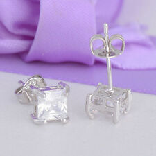 Great 925 Sterling Silver  Clear Square Cubic Zirconia Ear Studs Earrings