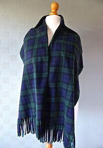 Black Watch Tartan shawl green blue plaid stole wrap blanket scarf unisex gift