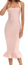 BCBG MaxAzria Bodycon Bandage Cocktail Dress Halter Mermaid Pink A505 **XS
