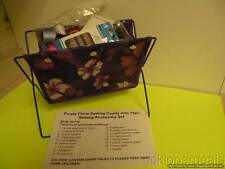 79 PC PURPLE FLORAL SEWING CADDY WITH ACCESSORY SET NEEDLES THREAD + BRAND NEW