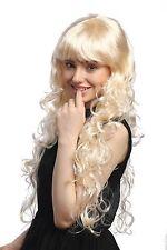 Perücke Damen Karneval Fasching sehr lang lockig Pony Hellblond Blond 1644-P88