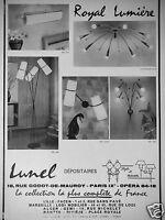 PUBLICITÉ 1958 LUMINAIRE LUNEL ROYAL LUMIÈRE  - ADVERTISING