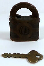 Antique old vintage Yale & Towne brass bronze padlock Made U.S.A With Key