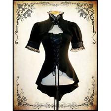 Vintage Women Gothic Punk Short Sleeve Lace Jacket Coat & Medieval Red Bodysuit