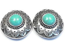 2 - 2 HOLE SLIDER BEADS SILVER PLATED WESTERN CONCHO AZTEC DESIGN TURQUOISE CABS