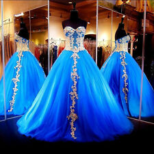 Sweet 15 16 Blue Quinceanera Dresses Princess TulleWedding Formal Prom Ball Gown