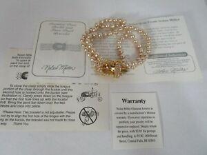 Nolan Miller Premiere Pave Buckle and Faux Pearl Bracelet vintage