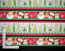 Christmas Santa Snowman Stripe Cotton Fabric QT 23813-RG Holly Jollies - Yard